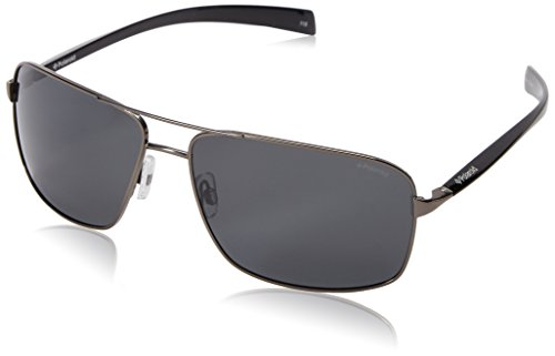 Polaroid Sunglasses Men's Pld2023s Polarized Rectangular Sunglasses, Dark Ruthenium/Gray Polarized, 64 - Glasses Polariod