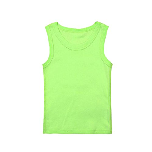 Hwafan Unisex Toddler Baby Solid Sleeveless Tank Tops Vest Cotton T-Shirts Undershirts Green 12-18 Months