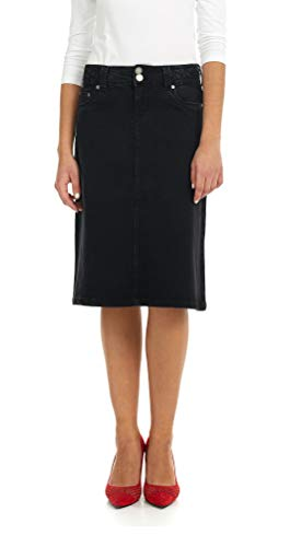 Esteez Women's Denim Skirt - A Line Jean - Below Knee Sydney Black 2