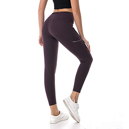 Purple Small Yoga Pants, Long Stretchy Polyester HighWaist Workout Leggings with Hidden Pocket, Super Soft and Non SeeThrough,Black,S
