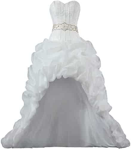 34ffe92d1cd Unbranded  Women s Strapless Organza High Low Wedding Dresses for Bride
