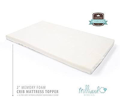 "Milliard 2-Inch Ventilated Memory Foam Crib/Toddler Bed Mattress Topper with Removable Waterproof 65-Percent Cotton Non-Slip Cover - 51.5"" x 27"" x 2"""