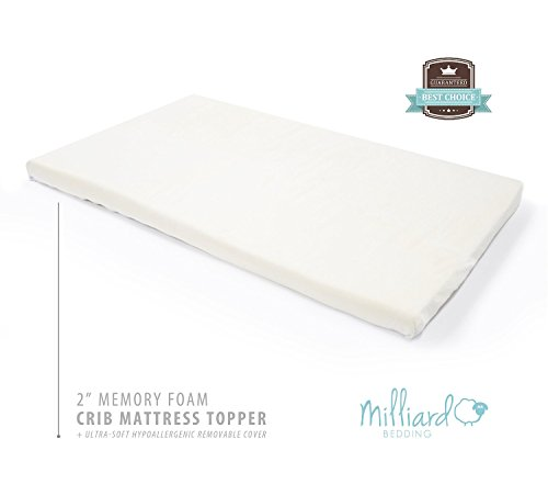 Buy Cheap Milliard 2-Inch Ventilated Memory Foam Crib/Toddler Bed Mattress Topper with Removable Wat...