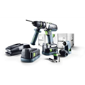 Festool QUADRIVE 18V 5.2 Ah Cordless Lithium-Ion 13mm Hammer Drill and Attachments Kit 564597