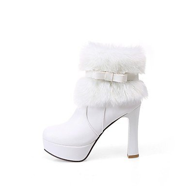 Shoes Round Ankle Boots For Dress Toe leather Chunky White Casual Nubuck Heel Winter Boots Women's Booties Blushing Leatherette Fashion Boots dZqSOx0vw