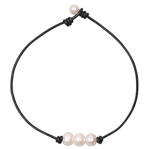 - Women White 3 Cultured Freshwater Pearls Choker Necklace on Genuine Leather Cord Knotted Jewelry-Black 18