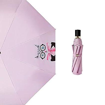 Paraguas plegable automatico Mujer niño Hombre an- Sombrilla Plegable Tres Plástico Negro - Protección Solar