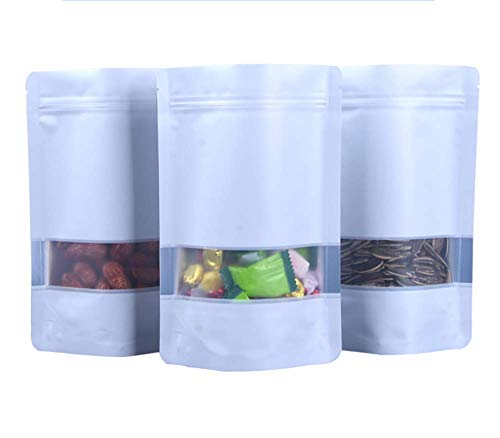 100x Multicolors Matte Window 3.9mil Mylar Foil Self Stand Up Bags Resealable Ziplock Heat Sealable Pouches for Food Storage Dried Blueberries Coffee Bath Salts (White Food Safe Bags, 10x15cm (4x6