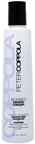 Peter Coppola Color Command Blonde Shampoo with Azulene - Purple Shampoo for Blondes, Sulfate Free, No Yellow, Color Safe, Keratin Safe, Damage Repair, Smoothing Shampoo (12 OZ) For Daily (Coppola Keratin Color Care)