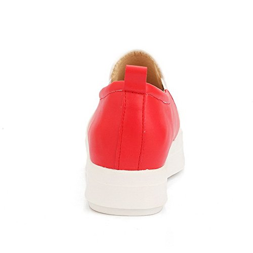 Amoonyfashion Womens Round Fermé Orteil Pull-on Pu Assorti Couleur Chaton-talons Pompes-chaussures Rouge