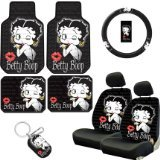 Betty Boop Steering Wheel Cover (Betty Boop Timeless Seat Covers, Floor Mats, Steering Wheel Cover and Keychain 8pc Combo)