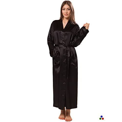 Cheap ElleSilk Women's Long Silk Robe, Pure Mulberry Silk Sleepwear, Machine Washable hot sale