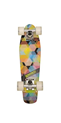 Bamboo Skateboards Kaleidoscope Mini Cruiser- Complete Mini Skateboard Banana Board (Clear Wheels)