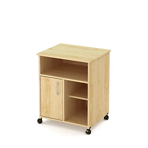 South Shore Axess Microwave Cart with Storage on Wheels, Natural Maple