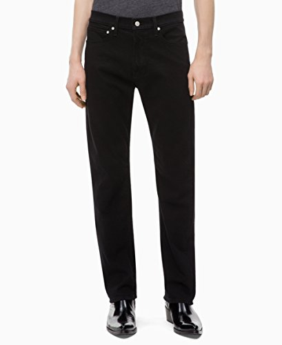 Calvin Klein Men's Straight Fit Jeans, Forever Black, 38W x 32L
