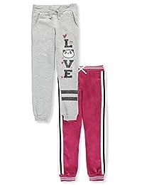 Pink Velvet Girls' Sporty Fleece 2-Pack Joggers