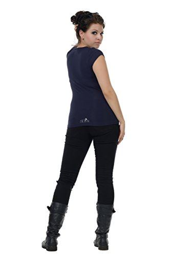 Diosa con manga de Top Mujer manga de 3elfen de Moda Camiseta verano azul corta corta bosque SqnTn7xa