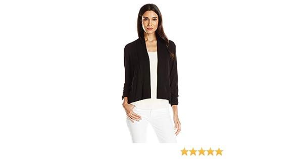 Ruby Rd Black Womens Plus-Size Solid Knit Cardigan with Shawl Collar 3X