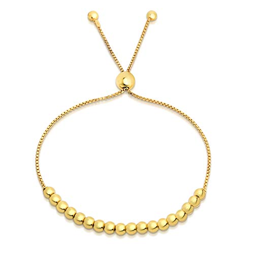 Gold Bead Stretch Bracelet - Verona Jewelers Sterling Silver Italian Adjustable Bolo Bead Ball Bracelet- Slider Bracelet for Women, 925 Sterling Silver Bracelet,Silver Bead Bracelet for Women, (Gold)