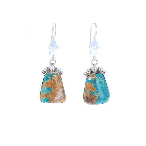 Fox Turquoise Earrings Sterling Silver Southwest Style - Earrings Turquoise Fox
