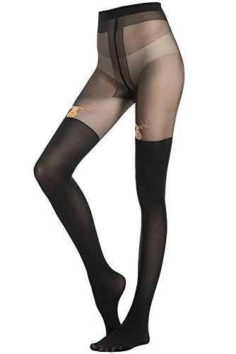 Stocking Fox Women's 60-Denier Christmas Elk-Print Tight (Plus Size Tights Print)