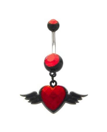 Color negro y rojo corazón con alas del tatuaje del anillo del ...