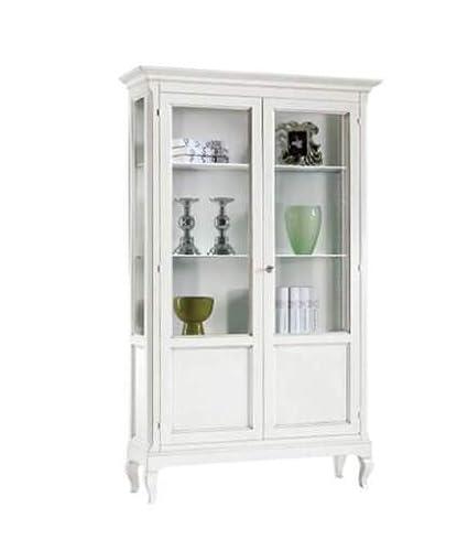 CLASSICO vetrina Shabby Chic bianca 2 ante in arte povera laccata ...