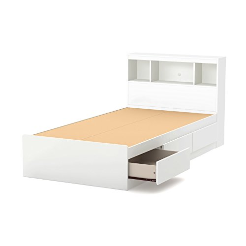 South Shore Reevo Twin Mates Bed With Bookcase Headboard (39''), Pure White by South Shore