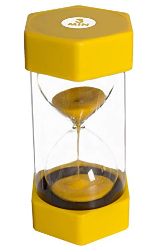 Sand timer hour glass for kids, teachers, therapists, classroom, office desk, kitchen, decoration, sensory room. 3 minute hourglass timers. Yellow. Large size - by Playlearn USA]()