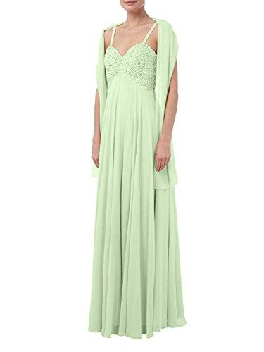 La_mia Braut Lang Spitze Chiffon Abendkleider Brautmutterkleider Jugendweihekleider Festlichkleider mit Spaghetti-traeger Salbei E5KF3xf4A