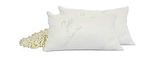 Original Bamboo Pillows - Set of 2 Standard Size - Shredded Memory Foam Pillow - Adjustable & Customizable - Hypoallergenic Pillowcase