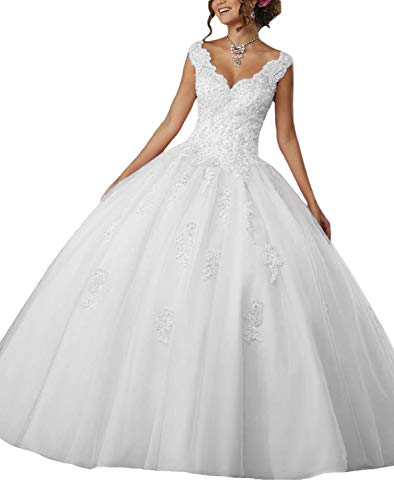 (HEAR Women's V Neck Ball Gown Long Quinceanera Dress Tulle Appliques Beading Prom Dresses Hear261 White 0)