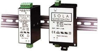 AC/DC DIN Rail Power Supply (PSU), Low Profile, 3 Output, 30 W, 5 VDC, 3 A, -12 VDC, 600 mA