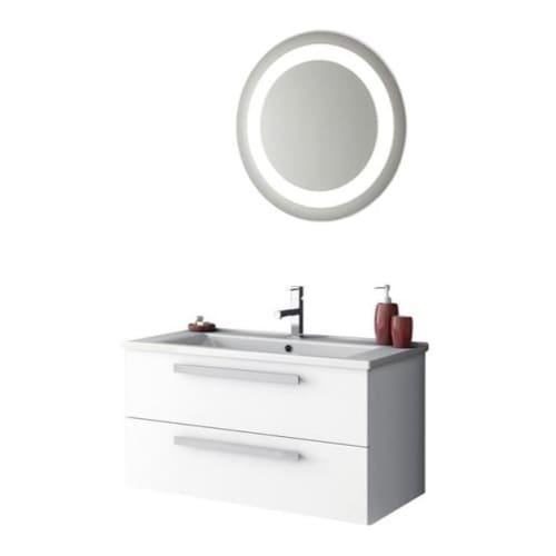 Nameeks DA20 ACF 32-7/10″ Wall Mounted Vanity Set with Wood Cabinet, Ceramic Top, Glossy White