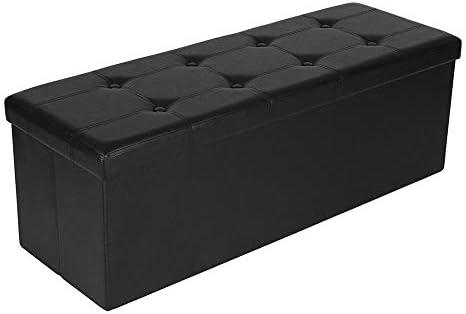 Tangyan 43 Inch Folding Storage Ottoman Bench Faux Leather Storage Footrest