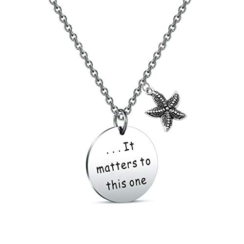 Zuo Bao Starfish Jewelry It Matters to This One Be Brave Be Yourself Inspirational Bracelet Gifts for Social Worker (Starfish Necklace)