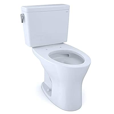 TOTO CST746CSMFG#01 Drake Two-Piece Elongated Dual Flush 1.6 and 0.8 GPF Universal Height DYNAMAX TORNADO FLUSH Toilet with CEFIONTECT, Cotton White