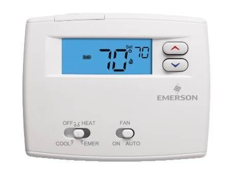 Emerson 1F86-0244 Blue 2 Display, Single Stage (1H/1C) Non-Programmable by Emerson Thermostats