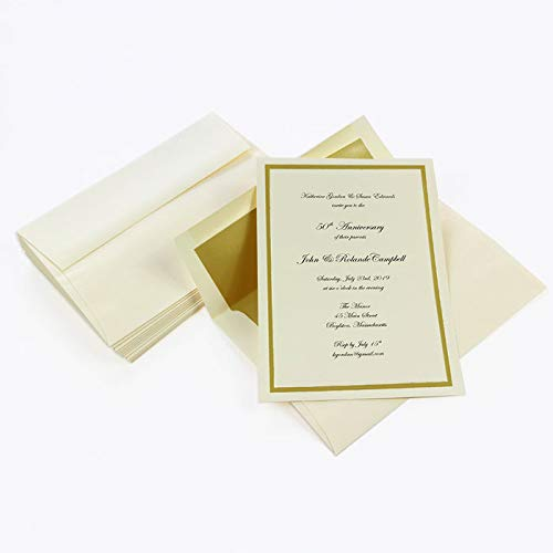 Gold Lined Ecru Envelope - Gold Foil Invitation Kit, Ecru, Gold Lined Envelopes, 25 Pack
