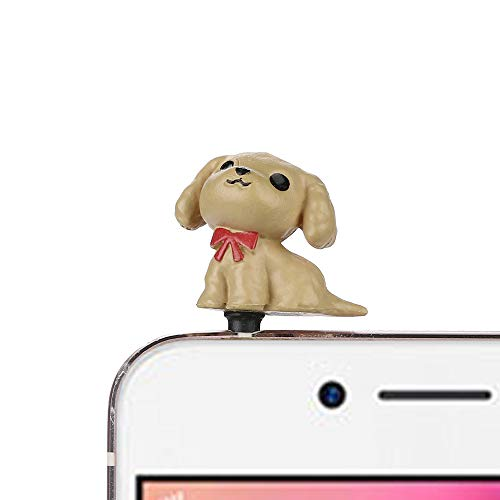 Gotian 3.5mm Cute Puppy Anti Dust Earphone Jack Plug Stopper Ear Cap for Cellphone (A)
