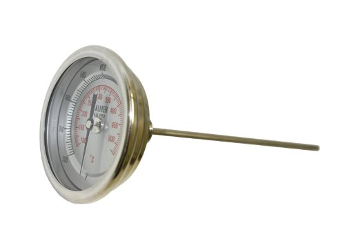 "Palmer 3BCP60/250F&C All Pro Welded Stainless Steel 304 Dual Scale Bimetal Thermometer, 0/250 F and -20/120 C Range, 3"" Dial, 6"" Stem, 1/2"" NPT Connection, Back Mount"
