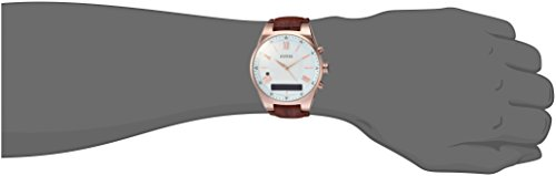 GUESS-Mens-CONNECT-Smartwatch-with-Amazon-Alexa-and-Genuine-Leather-Strap-Buckle-iOS-and-Android-Compatible-Rose-Gold