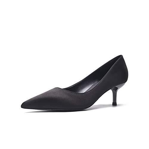 black Tacchi Alti Secondo Scarpe da Puntata Solo A Scarpe GTVERNH I Moda Scarpe Autunno donna Di Satin Nero 5Cm Tacchi wx4HWqaz