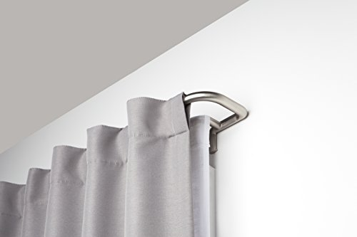 Umbra Twilight Double Curtain Rod Set – Wrap Around Design is Ideal for Blackout Curtains or Room Darkening Curtains, 48 to 88 Inch, Matte Nickel (Curtains Around Wrap)