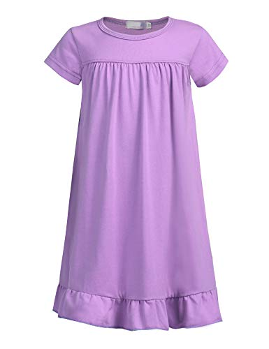 Balasha Big Girls Short Sleeve Solid Pleated Summer Dress, Purple, 100(Age for 3-4 years)