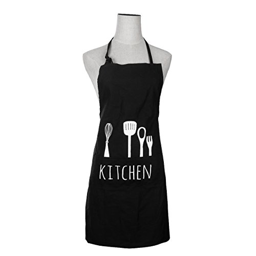 Drhob Black Adjustable 100% Cotton Cooking Kitchen Bib Apron with Pockets for Women Men Chef