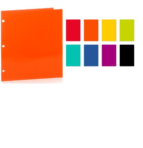 Promarx 2-Pocket 3-Hole Punched Portfolio with High Gloss Laminated Finish, Assorted Colors, 12 x 9.375 Inches, Pack of 48 (XP01-AAE001-48PQ)