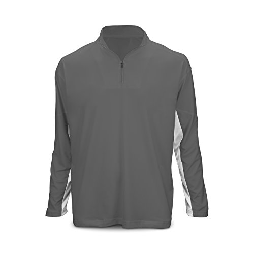 Youth Long-Sleeve 1/4 Zip Performance Gray/White by Marucci