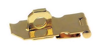 "Polished Brass Finished Steel Hasp Set - 1 1/2"" x 3/4"" - Antique Modern Furniture Drawers Cabinet Doors Chest Box Lids Padlock + Free Bonus (Skeleton Key Badge) H40-C753-1"