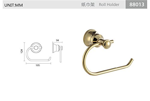 TACCY Toilet Paper Holder/Roller without Cover Brass Made in Polished Gold Finish #QL88